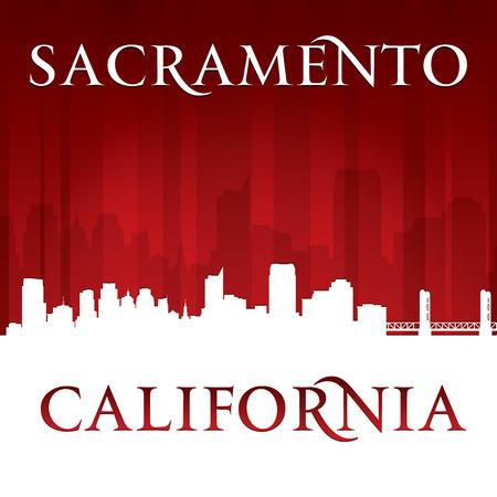 Sacramento in Californië skyline silhouet. Vector illustratie