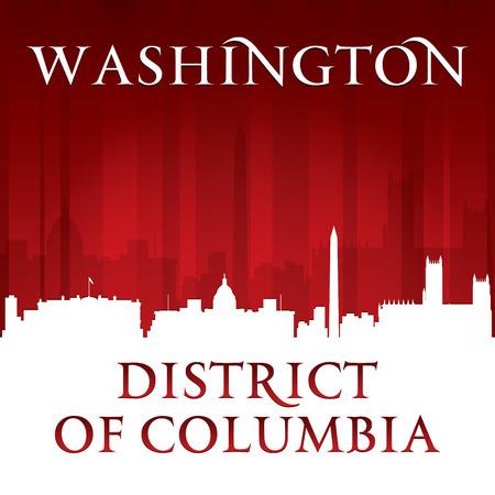 district of columbia: Washington DC city skyline silhouette. Vector illustration