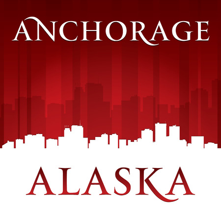 anchorage: Anchorage Alaska city skyline silhouette. Vector illustration Illustration