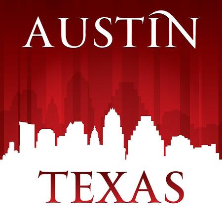 Austin Texas skyline van de stad silhouet. Vector illustratie Stock Illustratie