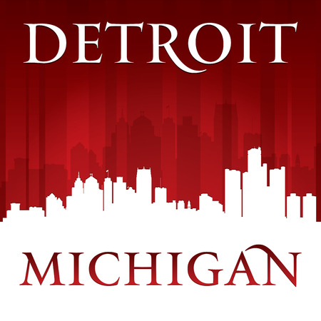 Detroit Michigan city skyline silhouette. Vector illustration