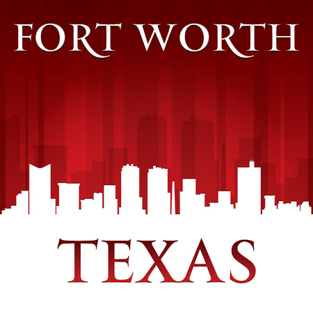 worth: Fort Worth Texas city skyline silhouette. Vector illustration