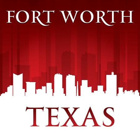fort worth: Fort Worth Texas city skyline silhouette. Vector illustration