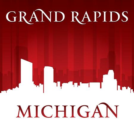 Grand Rapids Michigan city skyline silhouette. Vector illustration
