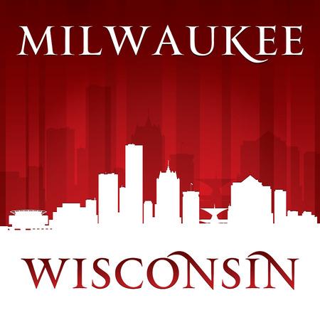 wisconsin: Milwaukee Wisconsin city skyline silhouette. Vector illustration Illustration