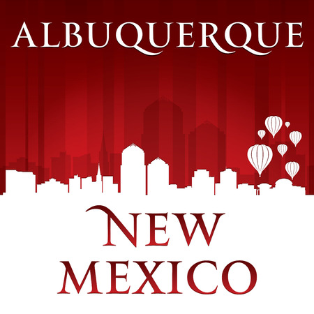 Albuquerque New Mexico city skyline silhouette. Vector