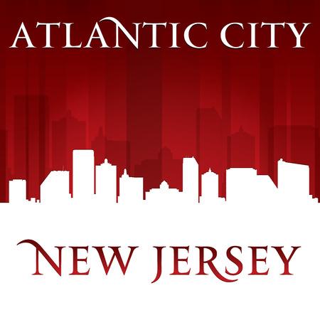 Atlantic city New Jersey skyline silhouette.  Vector