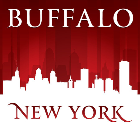 Buffalo New York city skyline silhouette.  Vector