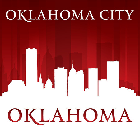 Oklahoma city skyline silhouette.  Vector