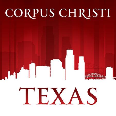 scraper: Corpus Christi Texas city skyline silhouette.  Illustration