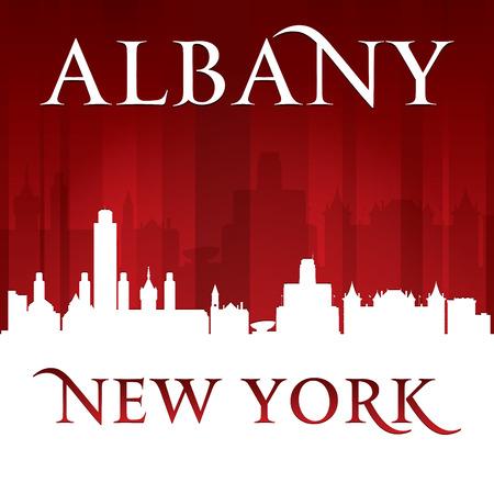 sky scraper: Albany New York city skyline silhouette.  Illustration