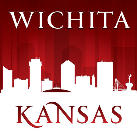 Wichita Kansas city skyline silhouette.  Vector