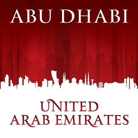 emirates: Abu Dhabi UAE city skyline silhouette. Vector illustration