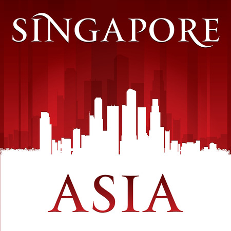 Singapore Asia city skyline silhouette. Vector illustration Vector