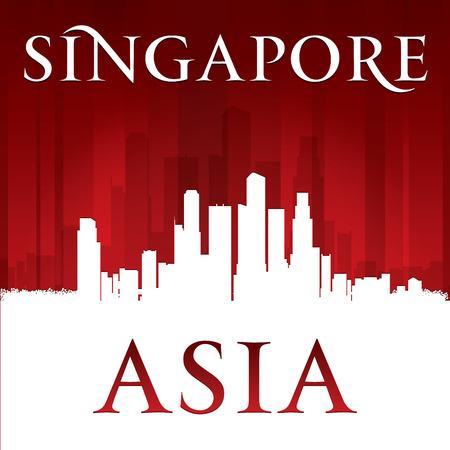 singapore cityscape: Singapore Asia city skyline silhouette. Vector illustration