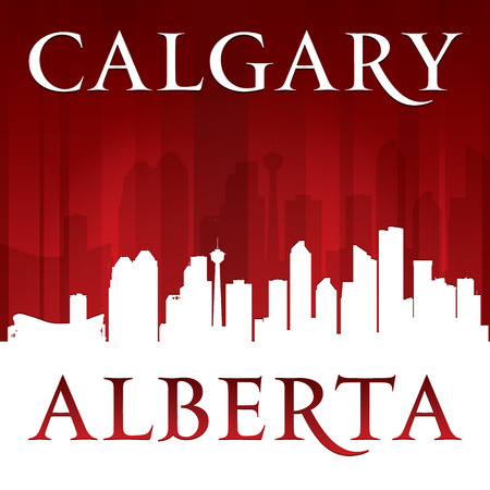 calgary: Calgary Alberta Canada city skyline silhouette. Vector illustration