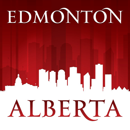 alberta: Edmonton Alberta Canada city skyline silhouette. Vector illustration Illustration