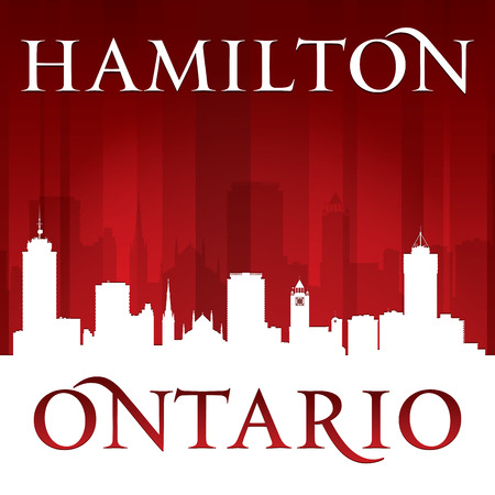 ontario: Hamilton Ontario Canada city skyline silhouette. Vector illustration Illustration