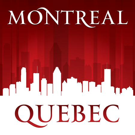 quebec: Montreal Quebec Canada city skyline silhouette. Vector illustration