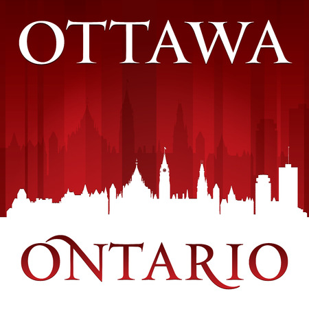 Ottawa Ontario Canada city skyline silhouette. Vector illustration Vector