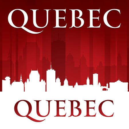 quebec city: Quebec Canada city skyline silhouette. Vector illustration