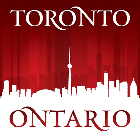 ontario: Toronto Ontario Canada city skyline silhouette. Vector illustration Illustration