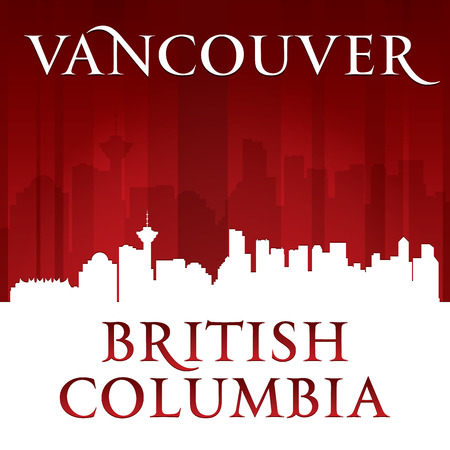 vancouver: Vancouver British Columbia Canada city skyline silhouette. Vector illustration