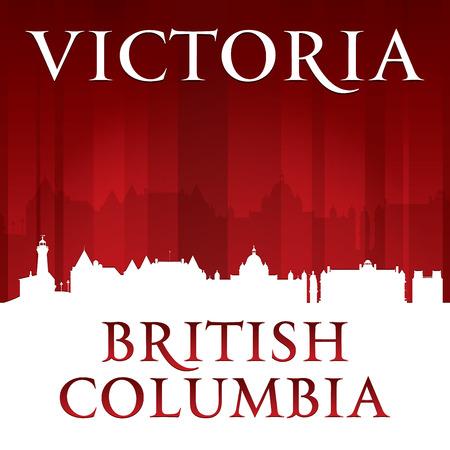 british columbia: Victoria British Columbia Canada city skyline silhouette. Vector illustration Illustration