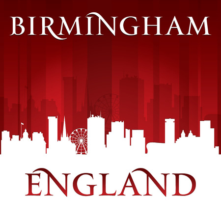 birmingham: Birmingham England city skyline silhouette. Vector illustration