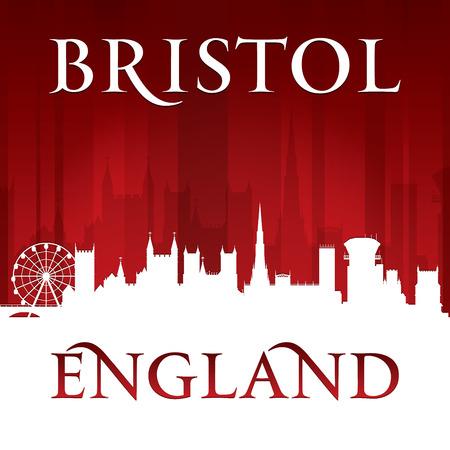 bristol: Bristol England city skyline silhouette. Vector illustration