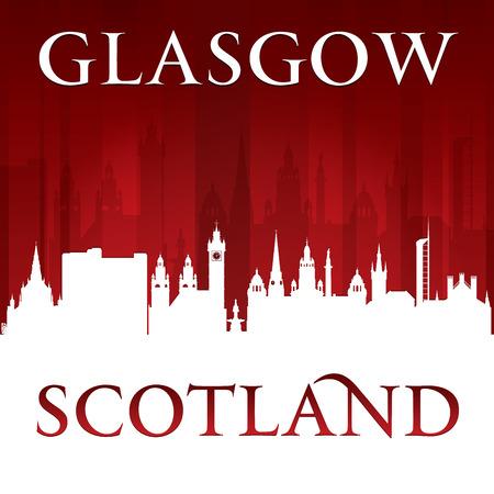 Glasgow Scotland city skyline silhouette. Vector illustration Vector