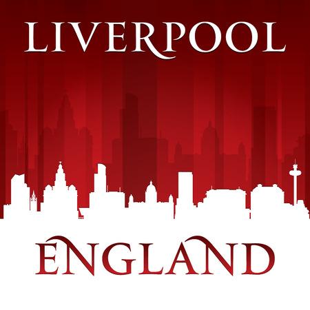 Liverpool England city skyline silhouette. Vector illustration Vector
