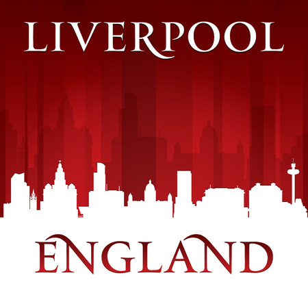 liverpool: Liverpool England city skyline silhouette. Vector illustration