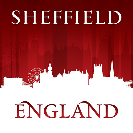 Sheffield England city skyline silhouette. Vector illustration Vector