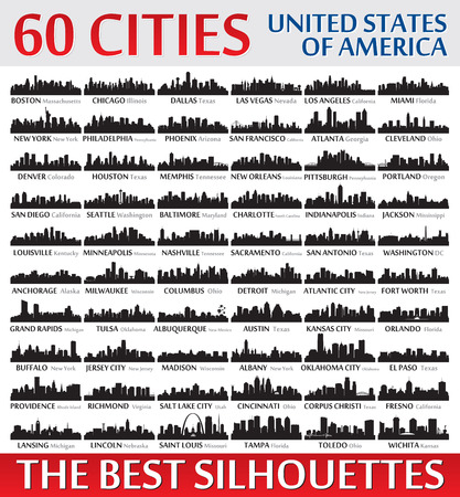 Incredible skyline set. 60 city silhouettes of United States of America Vector