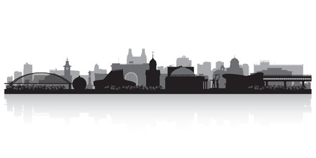 novosibirsk: Novosibirsk Russia city skyline silhouette vector illustration