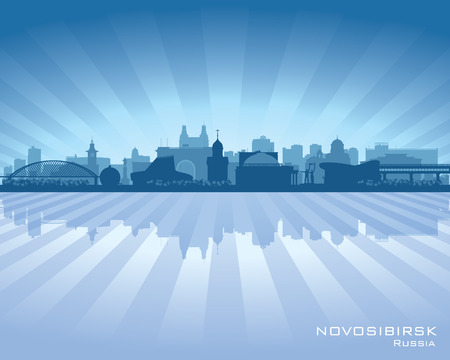 novosibirsk: Novosibirsk Russia skyline city silhouette Vector illustration