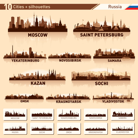 City skyline set. Russia. Vector silhouette background illustration.