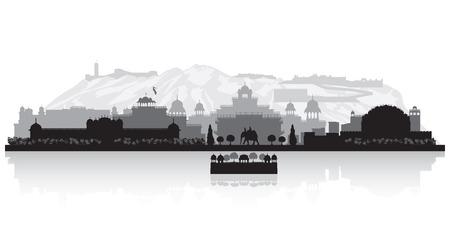 jaipur: Jaipur India city skyline vector silhouette illustration Illustration