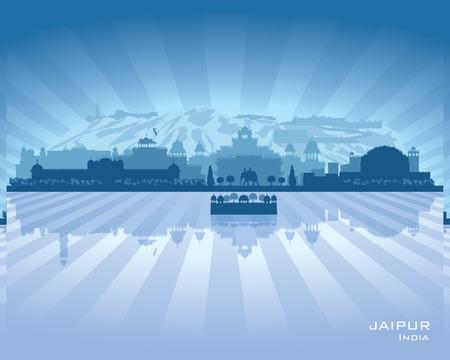 india city: Jaipur India skyline della citt� silhouette illustrazione vettoriale Vettoriali