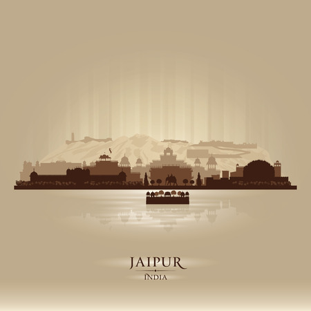 india: Jaipur India city skyline vector silhouette illustration Illustration