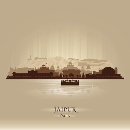 india city: Jaipur India skyline silhouette illustrazione vettoriale