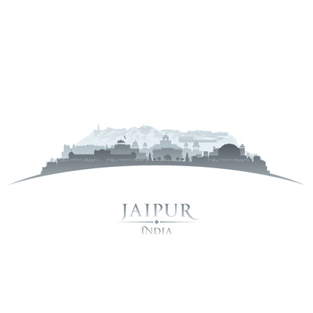 india city: Jaipur India skyline della citt� silhouette. Illustrazione vettoriale Vettoriali