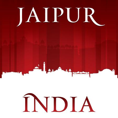 sky scrapers: Jaipur India city skyline silhouette. Vector illustration