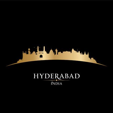 gold coast: Hyderabad India city skyline silhouette. Vector illustration Illustration