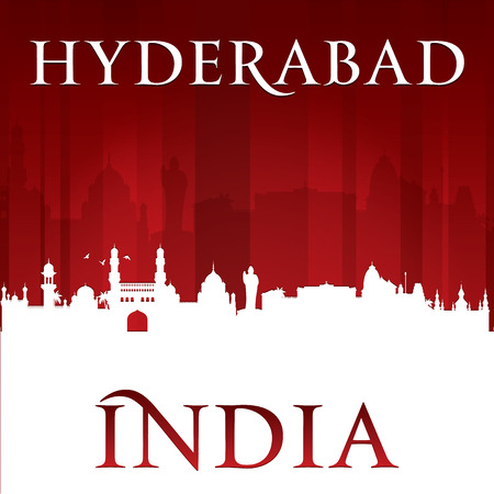 india city: Hyderabad India city skyline silhouette. Vector illustration Illustration