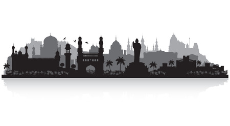 Hyderabad India city skyline vector silhouette illustration Ilustracja