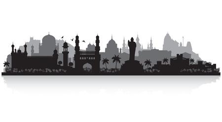 cityscape silhouette: Hyderabad India city skyline vector silhouette illustration Illustration