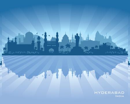 インド: ハイデラバード インド都市スカイライン ベクトル シルエット イラスト