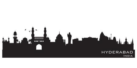 Hyderabad India skyline Gedetailleerde vector silhouet Stock Illustratie